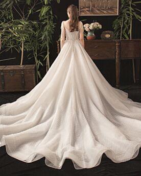 ウェディングドレス チュール ボヘミアン フリル ロング A ライン ガーデン 深 v ネック バックレス 白い 1920170172