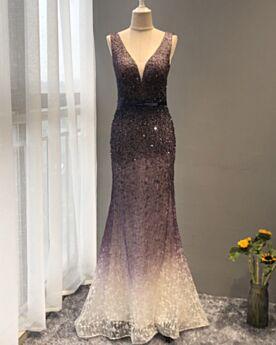 Meerjungfrau Abendkleid Glitzernden Lange Luxus Verlobungskleider Rückenfreies Pailletten Tiefer Ausschnitt Ombre