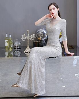 Beaded Formal Dresses Silver Open Back 2020 High Neck Sheath Sequin Half Sleeve