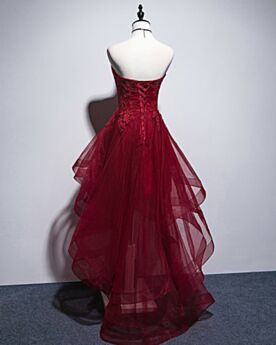 Sleeveless Asymmetrical Tea Length Fit And Flare Cocktail Dresses Semi Formal Dress Tulle Lace Backless Bandeau Burgundy Charming