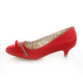 Bridal Bridesmaid Pumps Rhinestones Spring Shoes Pointed Toe Satin 4 cm Heels Low / Kitten Heel Stilettos