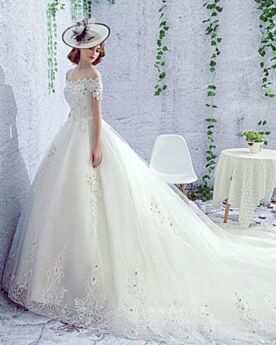 Wedding Dress Short Sleeve With Lace Backless Tulle Off The Shoulder Princess Beautiful Gorgeous White