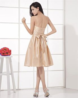 Flounce Open Back Satin Simple Skater Bridesmaid Wedding Guest Party Dress Champagne Strapless
