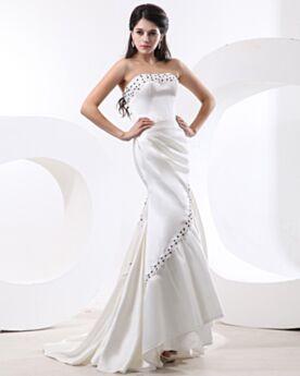 Tüll Chiffon Trägerloses Herz Ausschnitt Vintage Meerjungfrau Perlen Rückenfreies Lange Ball Abendkleider