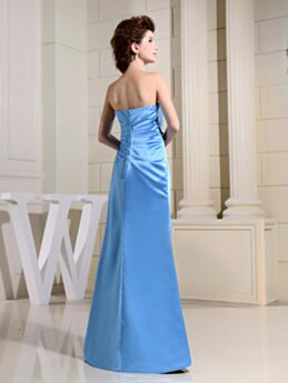 Prom Dress For Occasions Elegant Simple Long Backless Pleated Satin Sky Blue Mermaid Strapless