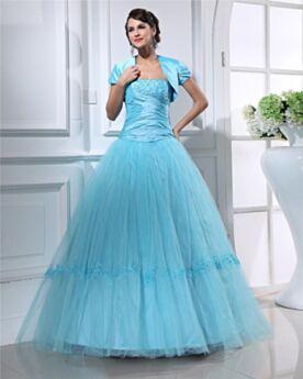 Vestidos De Prom Fiesta Sin Hombros Largos Azul Claro Elegantes Vestidos De 15 Años Espalda Descubierta Tul