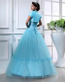 Long Tulle Quinceanera Prom Dress Ball Gown Charming Light Blue Appliques