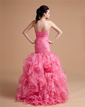 Luxury Organza Ball Gown Long Quinceanera Prom Dress For Occasions Appliques Ruffle Backless
