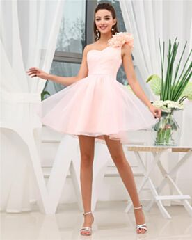 Encolure Coeur Évasée Robe Confirmation Rose Pale À Volants Simple Chic Courte