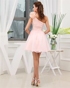 Fit And Flare Ruffle 3D Flower Short Graduation Sweet 16 Dresses Chiffon Simple Chic Pink