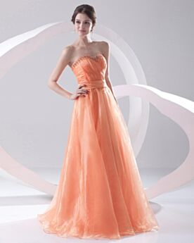 Organza Strapless Formal Prom Evening Dress Beautiful Simple Orange Beaded Backless Empire
