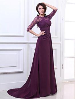 Chiffon Brautmutter Abendkleider Für Festliche Empire Aubergine Lange Mit Schleppe Kundengerecht Rückenfreies Transparentes
