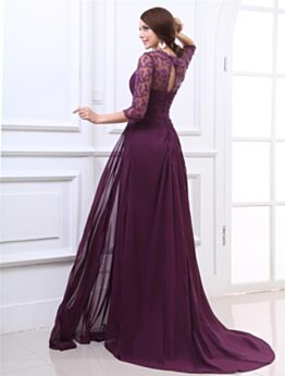 Long With Train Chiffon Lace Charming Backless Mother Of Bridal / Groom Evening Dress Eggplant Empire