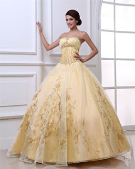 Sleeveless Ball Gown Long Vintage Prom Quinceanera Dress Strapless Gold