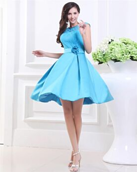 Simple Chic Short Satin Lace Sky Blue Skater Homecoming Dress Backless 3D Flower