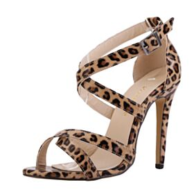Shoes For Women Stiletto High Heels 11 cm Leatherette Leopard Patent Leather Strappy Sandals Sexy