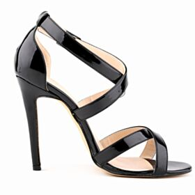 Patent Leather High Heels Stiletto Simple Sandals For Women Black Womens Shoes