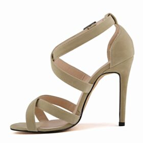 Peep Toe Polipiel Tacon Alto 11 cm Sandalias Mujer Nude Stilettos