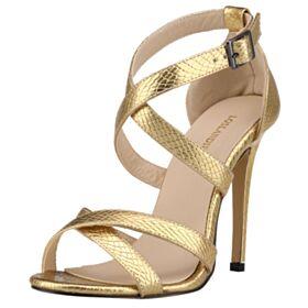 Sandalen Glitzernden Hochhackige Highheels Gold Schuhe Stilettos