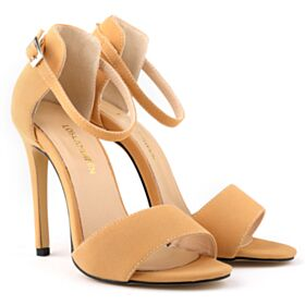 Strappy Ankle Strap Suede Stilettos Sandals Leatherette High Heels Nude Shoes For Women