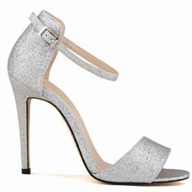 11 cm Tacco Alto Cinturino Alla Caviglia Argento Sandali Con Lacci Tacco A Spillo Scarpe Da Cerimonia Glitter