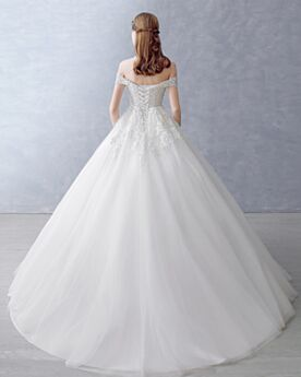 White Short Sleeve Long A line Wedding Dress Appliques Backless Beautiful Tulle Off The Shoulder