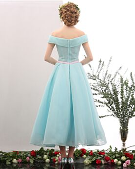 Tulle A line / Princess Fit And Flare Flounce Tea Length Turquoise Short Sleeve Off The Shoulder Bridesmaid Party Dress