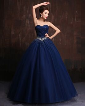 Beautiful Vintage Long Quinceanera Prom Dress Tulle Ball Gown Strapless Sweetheart Pleated Rhinestones