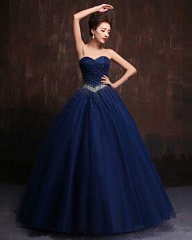 Con Tulle Principessa Con Strass Senza Spalline Vestiti Cerimonia Vintage Scollo A Cuore Blu Scuro Eleganti Abiti Da Ballo