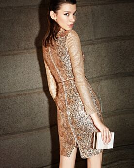 Gold Sequin Glitter Gorgeous Sparkly Gala Cocktail New Years Eve Dress For Party Short Long Sleeve Deep V Neck Sheath