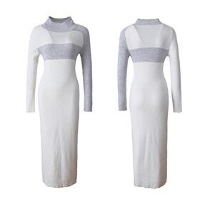 Etui Midi Lange Ärmel Casual Business Kleider Elegante Schlichte Weiß Strick