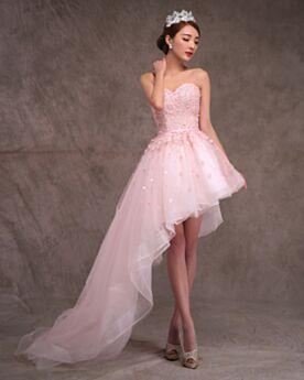 Tüll Spitzen Rückenfreies Pink Asymmetrisches Bohemian Schöne Brautkleid Bandeau Vokuhila Strand Standesamt