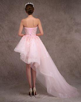Mouwloze Zomer Hoog Laag Bruidsjurken Asymmetrische Roze