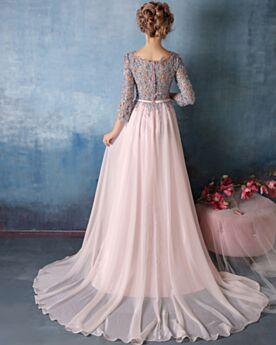 Rose Pale Appliques Ceinture Avec La Queue Empire Robes De Soirée Demoiselle D honneur De Bal Mousseline Dentelle
