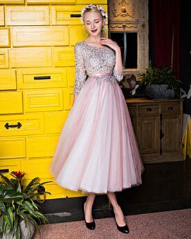 Bruidsmeisjes Jurken Thee Lengte Cocktailjurk A Lijn Galajurk Licht Roze Halve Mouw