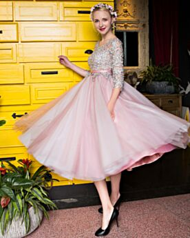 Tea Length A line Chiffon Lace Belt Bridesmaid Cocktail Prom Dresses Boho Bohemian Cute 2017 Pink