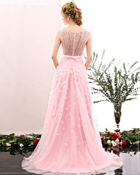 Chic Empire Bridesmaid Sweet 16 Prom Dresses Pink Long Appliques Beaded Tulle Lace Sequin