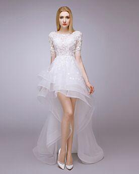 Rückenfreies Strand Schlichte Bohemian Weiß Sommer Kundengerecht Hochzeitskleider Empire Asymmetrisches Kurze Spitzen