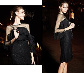 Sexy Sparkly Fit And Flare Lace Sequin Ruffle Backless Black Cocktail Club Dress For Party Short