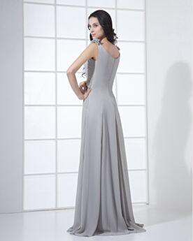 Wedding Guest Bridesmaid Dress Gray Ruffle Elegant Simple Maxi Chiffon Sleeveless Empire