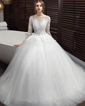 Long With Train Ball Gown Scoop Neck Elegant Tulle Lace Wedding Dresses Church Backless Long Sleeve
