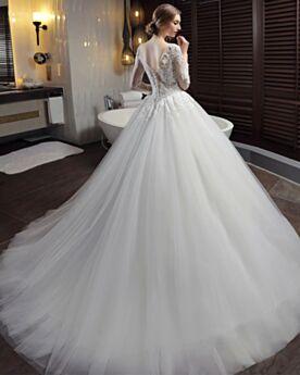 Robe De Mariée Élégant En Dentelle Dos Nu Avec La Queue Longue Manche Longue Tulle Belle Ivoire / Beige