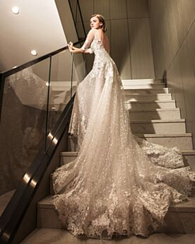 Gorgeous Sexy Sheath Scoop Neck Backless With Train Long Ivory / Beige Wedding Dresses Lace