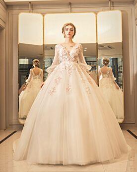 Laag Uitgesneden Lange Mouw Baljurk Lange Ivory Bruidsjurken Luxe