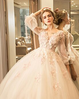 Ivory / Beige Gorgeous Low Cut Open Back Ball Gown 2017 Bridal Gown Long Long Sleeve Tulle Lace