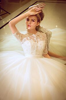 Wedding Dresses With Lace Backless Long Spring Tulle Half Sleeve Elegant Ball Gown Hight Neck