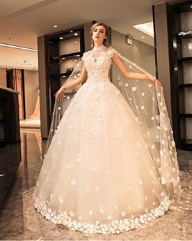 Robe De Mariage Évasée Princesse Maxi Avec La Queue En Dentelle Dos Nu Printemps D'été Luxe Élégant Sans Manches Tulle