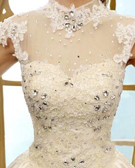 Principessa Collo Alto Bellissimi Vestiti Da Sposa Avorio Senza Maniche Eleganti Gioiello Svasato