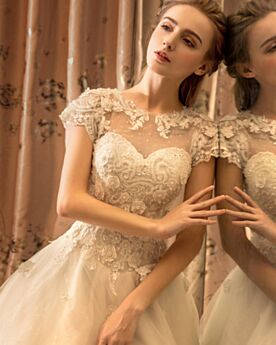A line Backless / Open Back Ivory / Beige Scoop Neck Long Charming Beautiful Spring Summer Lace Tulle Wedding Dresses