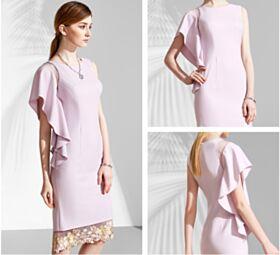 Eleganti Con Applicazioni Rosa Cipria Maniche A Campana Semplici Lungo Al Polpaccio Abiti Per Matrimonio